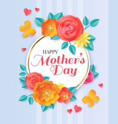 happy mothers day spring papercut flowers and vector image