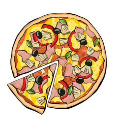 Hawaiian pizza with slice vector