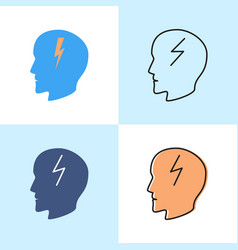 Headache concept icon set in flat and line styles vector