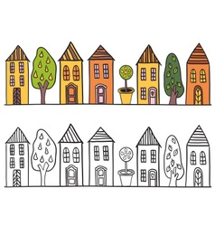 Houses in small town pattern vector image