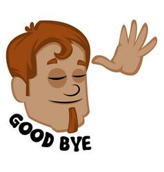 human emoji showing good bye on white background vector image