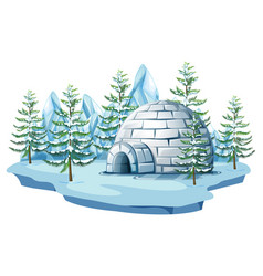 Igloo at the arctic land vector