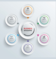 infographics circle paper with 6 data template vector image