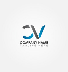 initial cv letter logo with creative modern vector image