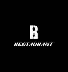 initial letter r with spoon fork for restaurant vector image