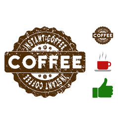 Instant coffee reward stamp with scratched style vector
