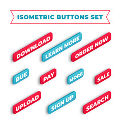 isometric buttons set vector image