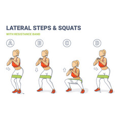 Lateral walk and squats with resistance band girl vector