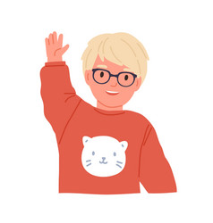 little boy waving smiling and saying hi or bye vector image