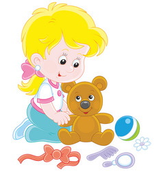 little girl and teddy bear vector image