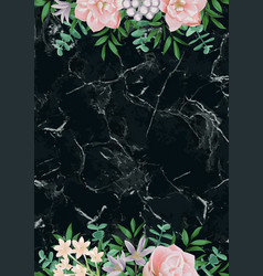 luxury template with pink flowers on black marble vector image
