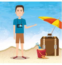 Man character on the beach vector