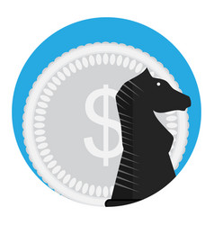 money and chess horse vector image