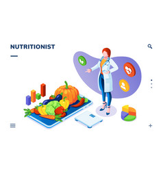 Nutritionist with vegetables on plate and scales vector