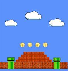 Old game background classic retro arcade design vector