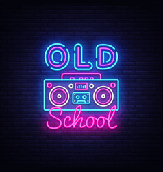 Old school neon sign retro music design vector