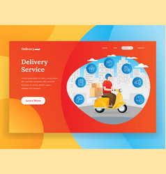 online delivery service landing page with scooter vector image