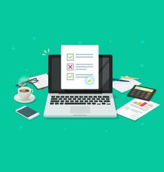 Online form survey on laptop vector