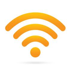 Orange wifi icon wireless symbol on isolated vector