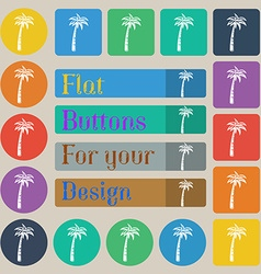 Palm icon sign Set of twenty colored flat round vector image