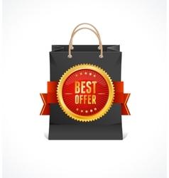 Paper bag and gold label Best Offer vector