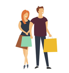 people shopping together couple of man and woman vector image