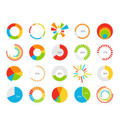 Pie charts graphic segmentation information vector