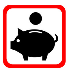 Piggy bank icon pictograph of moneybox vector