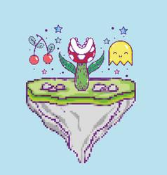 Pixelated videogame scenery vector