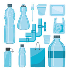 plastics type containers package bottle set vector image