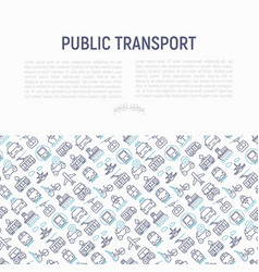 Public transport concept with thin line icons vector