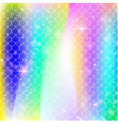 Rainbow scales background with kawaii mermaid vector
