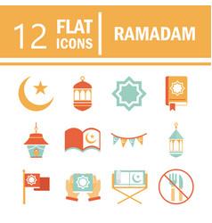 Ramadan arabic islamic celebration icon set tone vector