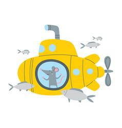 rat in submarine vector image