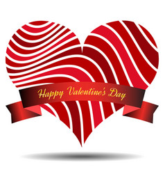 red heart with ribbon and shadow vector image