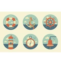 retro marine icons vector image