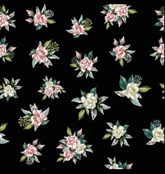 rose flowers bouquet seamless pattern black vector image