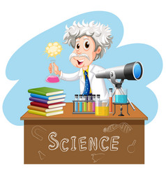 Scientist working on table vector