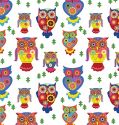Seamless owls pattern 2 vector