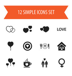 Set of 12 editable love icons includes symbols vector
