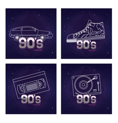 Set of retro pop cards vector