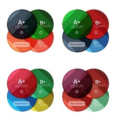 Set of round infographic banners with options vector