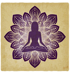 Silhouette of girl in yoga pose on flower vintage vector