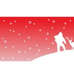 Silhouette of Santa with deer landscape vector