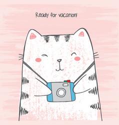 sketch cartoon cat hugs his photo camera vector image
