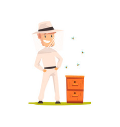 smiling beekeeper man standing next to the hive vector image
