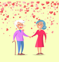 smiling elderly man holding woman hand vector image