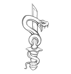 snake with sword old school tattoo style vector image