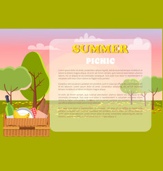 Summer picnic poster text vector