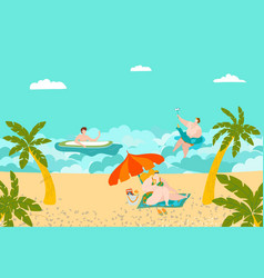 summer rest on beach people swimming and vector image